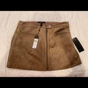 Brown suede bcbg zip up mini skirt